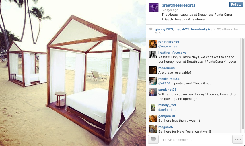 The beach cabanas at Breathless Punta Cana.