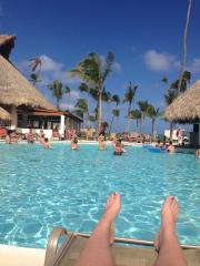 Lounging by the main pool