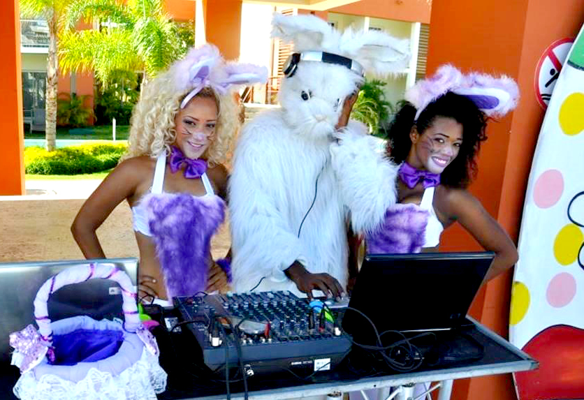 The Easter Bunny leads the party at Breathless Punta Cana Resort & Spa!