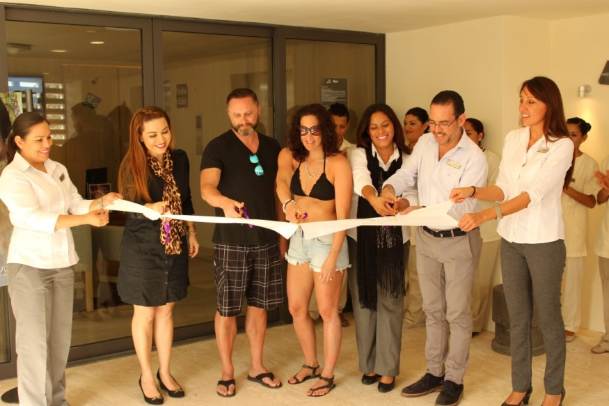 Breathless Cabo San lucas Resort And Spa Spa Opening pevonia  ribbon cut